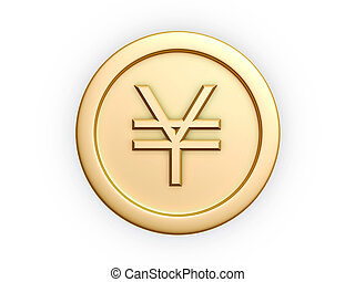 gold coins - yen symbol gold coin isolated on white...