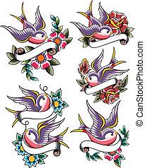 燕子, 紋身, 集合