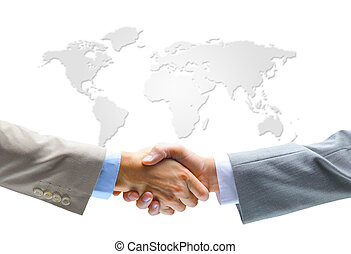 Handshake with map - Handshake with map of the world in...