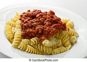 pasta with bolognese sauce with tomatoes and meat