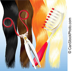 comb and scissors - on a blue background are a red, black,...