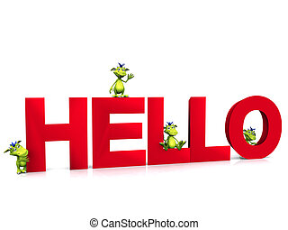 Cute cartoon monsters on the word HELLO. - Four green, cute...