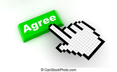Cursor agree - A white hand cursor push a green button