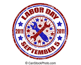 Labor day stamp - grunge rubber stamp with word labor day...