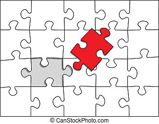 puzzle red piece missing one step to complete the puzzle