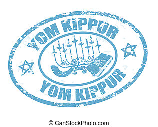 Yom Kippur stamp - Grunge rubber stamp with jewish symbols...