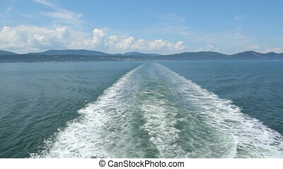 Ship wake. - Wake from a ferry. Crossing the St. Lawrence...