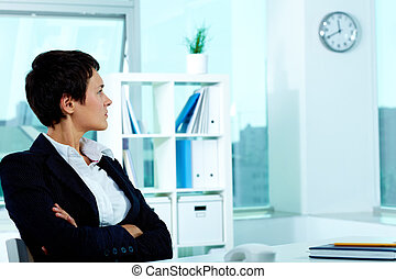 Is it time for lunch - Photo of smart businesswoman sitting...