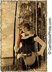 Sepia picture with burned edges Pirate girl series