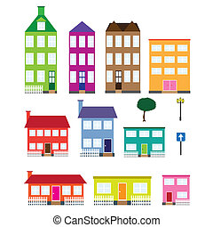 Set of houses. - Set of coloured houses, tree, lamp and road...