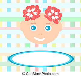 smiling cute baby girl with abstract bakground