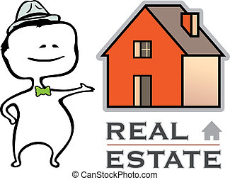 Real estate - a real estate agent and a house - vector illustration in cartoon type - The document can be scaled to any size without loss of quality.