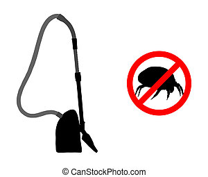 Prohibition sign for house dust mites and vacuum cleaner