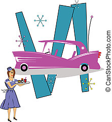 pink caddy with carhop - pink Cadillac with 50\'s era carhop...
