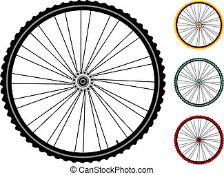 set bicycle wheels isolated on white