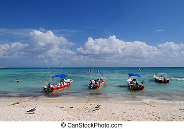 Playa del Carmen - Fishing boats on Playa del Carmen beach