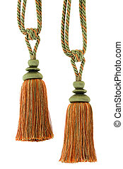 Two Curtain cord, tassels, isolated - Two Tassels for...