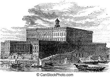 Stockholm Palace in Stadsholmen Sweden vintage engraving