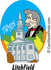 Connecticut Clip Art - Historic church in Connecticut and...