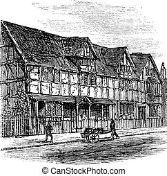 Shakespeare's Birthplace at Stratford-upon-Avon, vintage...
