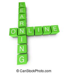 Learning online 3D crossword on white background