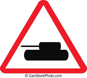 Tank crossing sign