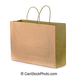 Paper bag - Brown shopping bag isolated on white