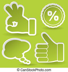 Collect Sticker with Hand, Speech Bubble and Stamp Icon,...
