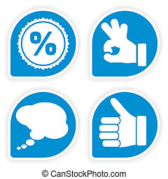 Collect Sticker with Hand, Speech Bubble and Stamp Icon