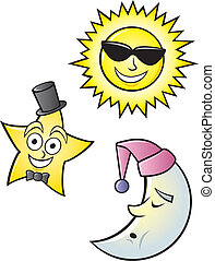 Cartoon Sun Moon and Star - A cartoon depiction of a...
