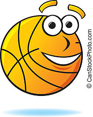 Cartoon Basketball - A happy bouncing basketball with wide...