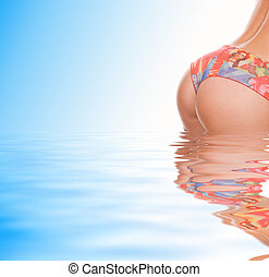 Girl's, buttocks, out, rendered, water