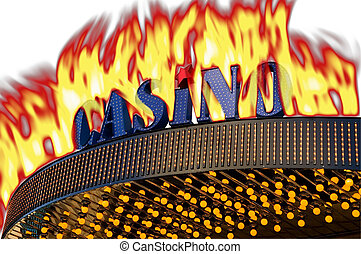 Burning casino sign