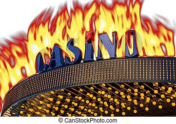 Burning casino sign