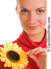 Beautiful girl with a sunflower