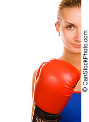 Blond girl with a red boxing glove
