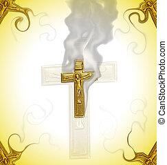 Holy border - Golden cross border