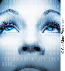 Cyber girls face on abstract background