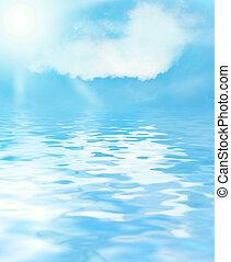 ensolarado, céu, azul, água, fundo