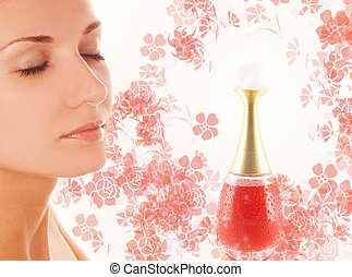 Beautiful girl's face and small perfume phial on abstract...