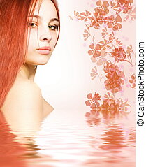 Redhead in rendered water