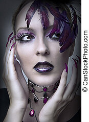 Fashion portrait of retro glamour woman with purple makeup...