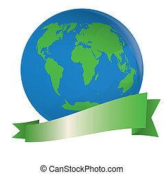 Abstract globe with green banner