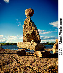 Stone Inuksuk on the Ottawa River