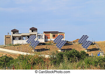 Solar village - Solar modules system and new houses in rural...