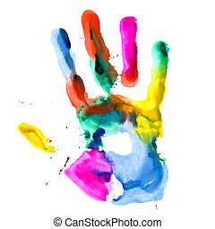 Close up of colored hand print.