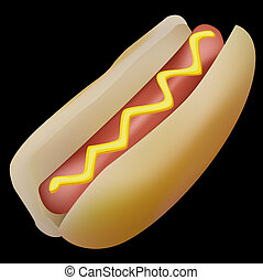 hot-dog - hotdog, black background
