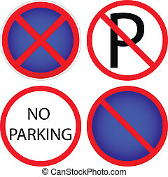 Variants a No parking - road sign
