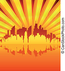 Evening City Vector - Big orange city reflecting in sunset...