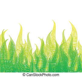 rabisco, fogo, em, verde, capim, vetorial